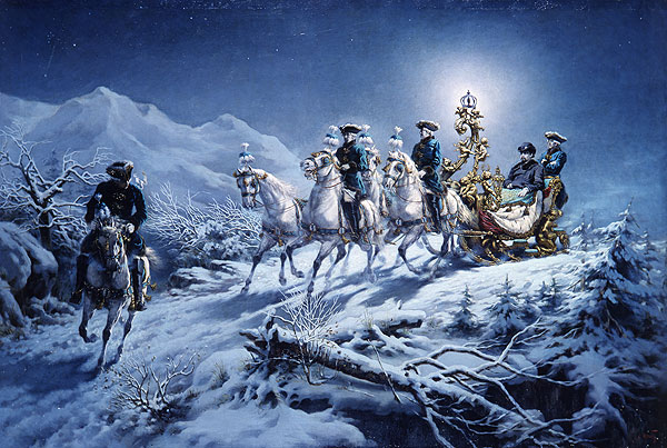 Ludwig II on a night-time sleigh ride, painting by R. Wenig
