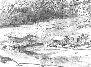 Pencil sketch from 1871 showing the King's Cottage