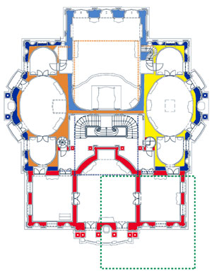 Picture: Plan of the main floor showing the building phases