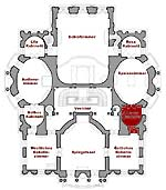 Picture: Small plan of the main floor showing the present position