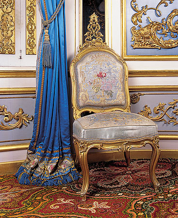 Picture: Upholstered chair in the Blue Cabinet, 1871
